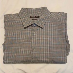 Michael Kors Men's Dress Shirt 19 36/37 grey plaid